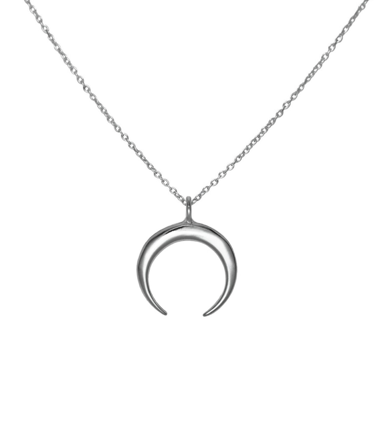 Crescent Moon Necklace, Solid 925 Sterling Silver Double Horn Pendant Necklace