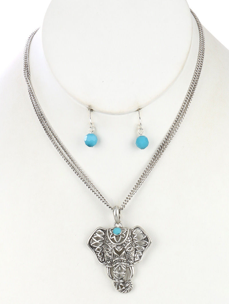 Elephant Pendant Necklace and Earrings Set SilverTone Turquoise 16 Inch Chain