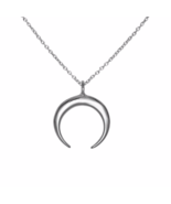 Crescent Moon Necklace, Solid 925 Sterling Silver Double Horn Pendant Ne... - $25.33 CAD
