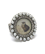 Owl Ring Crystal Rhinestones Pearl Vintage Painting Stretch Ring Grey On... - $14.84