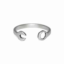 Open Wrench Ring, Solid 925 Sterling Silver Rings, Mechanic Wrench Ring - $11.00