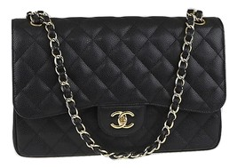 Authentic Chanel Black Jumbo Caviar Double Flap Bag Gold Hardware