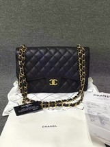 Authentic Chanel Black Jumbo Caviar Double Flap Bag Gold Hardware With Receipt