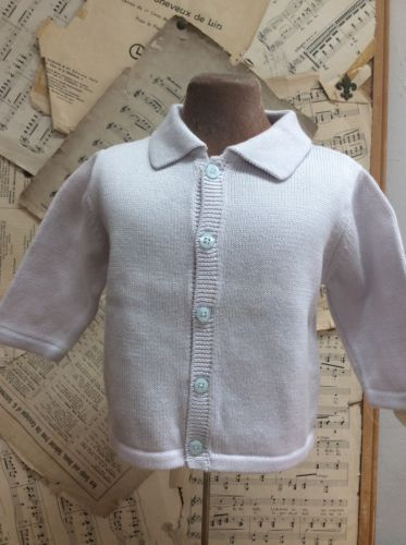 Primary image for Janie And Jack MERCERIZED COTTON CARDIGAN SWEATER Light BABY Blue 3-6 mo INFANT