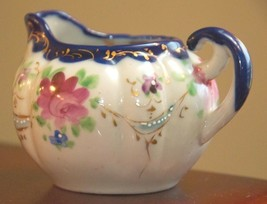 VINTAGE JAPAN CREAM PITCHER  COBALT ROSES MORIAGE PORCELAIN HAND PAINTED... - $34.99