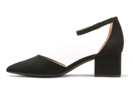 A New Day Women's Natalia Black Microsuede Pointed Toe Block Heeled Pumps image 2