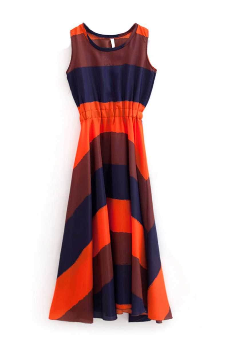 Orange Blue Boho Bohemian Chiffon Stripes Summer Beach Long Maxi Dress