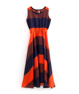 Orange Blue Boho Bohemian Chiffon Stripes Summer Beach Long Maxi Dress - £6.04 GBP