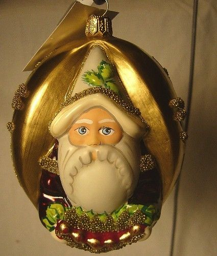 Vaillancourt Folk Art Santa with Wreath Blown Ornament