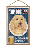 "Top Dog Inn Beerhounds Labradoodle Blonde Bar Sign Plaque dog 10""x16""   - $21.95"