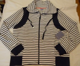 Women's Laura Scott Cowl Neck Striped Zipper Jacket Navy Size Large NEW  - $24.74