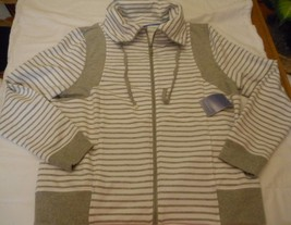 Women's Laura Scott Cowl Neck Striped Zipper Jacket Gray Size Large NEW  - $24.74