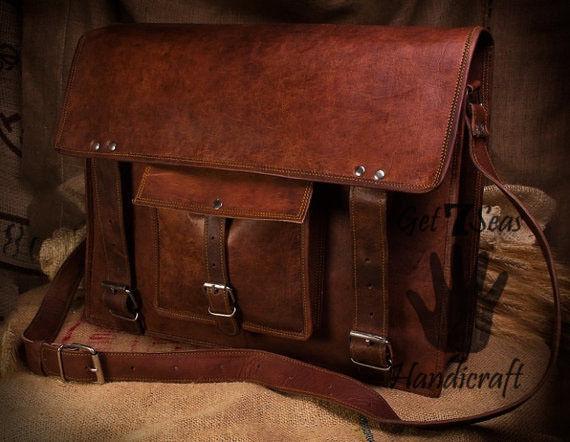 Leather computer bag men's shoulder laptop women satchel vintage messenger Bags