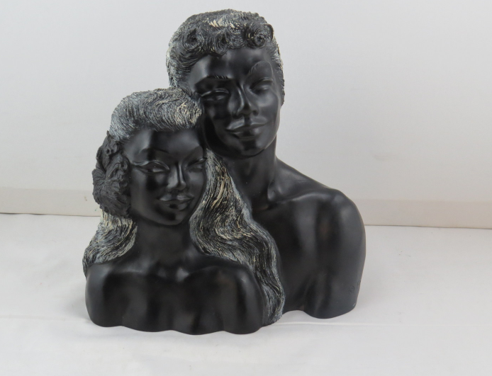Primary image for Na Ipo -Vintage Hawaiian Couple Bust by Frank Schriman - Made from Coral