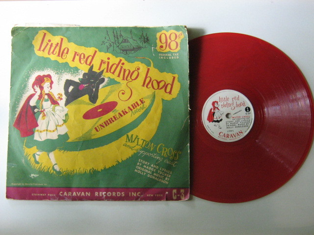 Vintage Children's 78 RPM Record - Little Red Riding Hood - Red Vinyl - 1940s