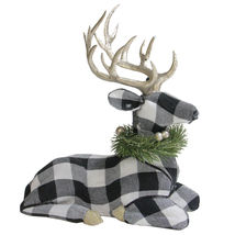 "1.25"" Black and White Urban Nature Bufflo Plaid Sitting Deer - tkchriscen - $71.95"