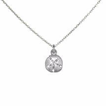 Silver Sand Dollar Pendant Necklace, 925 Sterling Silver Charm Necklace - $16.45