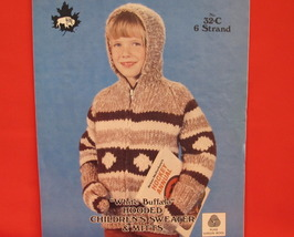 Vintage WHITE BUFFALO Knitting Patterns CHILDRENS Hooded Sweater Mitts M... - $6.95