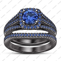 Solid 925 Silver Black Gold Fn Bridal Engagement Ring Set In Round Blue Sapphire - $101.99