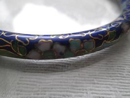 Dark Blue Cloisonne Bangle, Floral Design, Gold Outline, Free U.S. Shipp... - $7.41