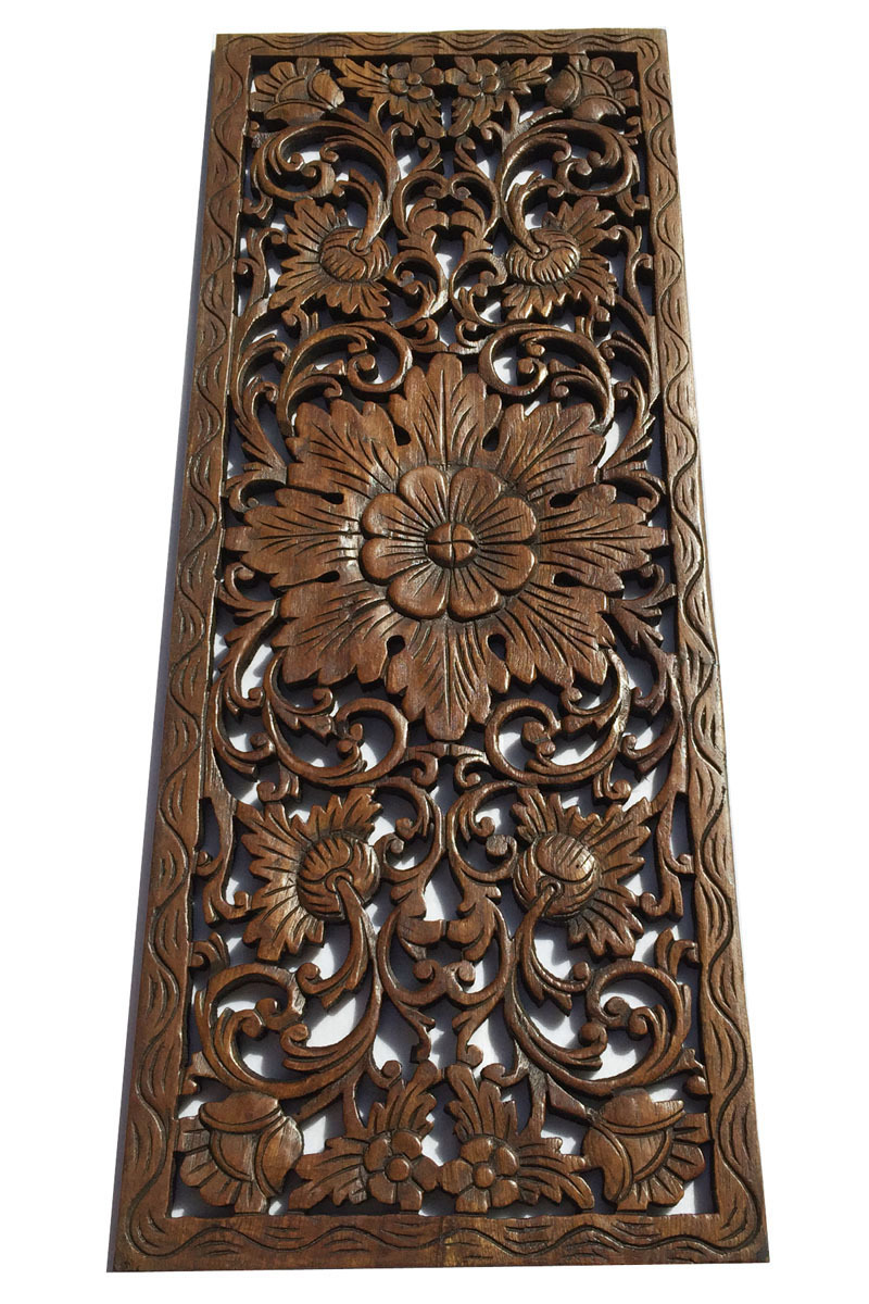 Tropical Wood Carving Wall PanelsFloral Wood Wall PlaqueDark Brown 355x135