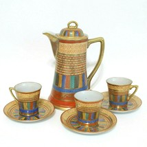 Vintage Japanese Mitsu Boshi Thousand Faces Set Chocolate Pot Cups Tea J... - $92.22