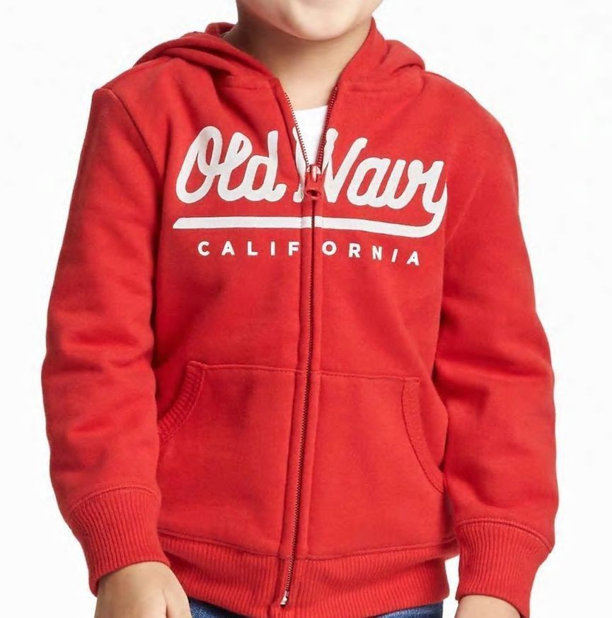 Old Navy Zip-Front  Hoodie Toddler Boy Gray Red Blue Size 2T 3T 4T 5T NWT