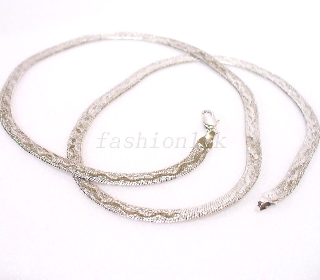 fashion1uk White Gold Plated Flat Chain Necklace Length ...