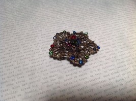 Gold Tone Multicolor Flower Brooch Pin Red Green Yellow With Swarovski Crystal image 3