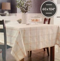 """Threshold Oblong 60"""" X 104"""" Tablecloth Cream Color With Gold Plaid Design New - $17.94"""
