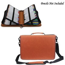 Samaz 160 Slots Pencil Case, Pu Leather Colored Pencil Holder Pen Bag (C... - $26.99