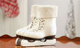 "7"" x 7"" Winter White Figure Skates Design Decorative Vase w Glitter Cuff Detail"
