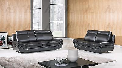 American Eagle EK075-BK Black Sofa  and Loveseat Set Italian Leather 2Pcs