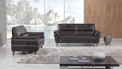 American Eagle EK073-DC Dark Chocolate Sofa  Loveseat Set Italian Leather 2Pcs