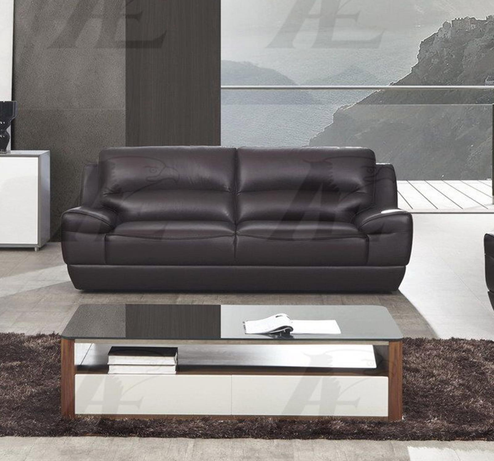 American Eagle EK018-DB Dark Brown Sofa Italian Leather