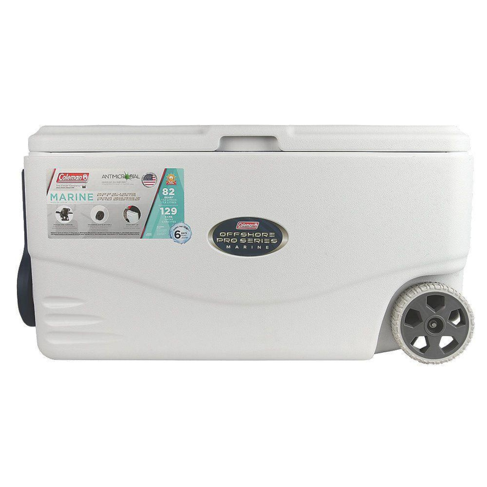 Portable Chest Cooler with Wheel 82 Quarts White Heavy Duty Beverage Food Holder