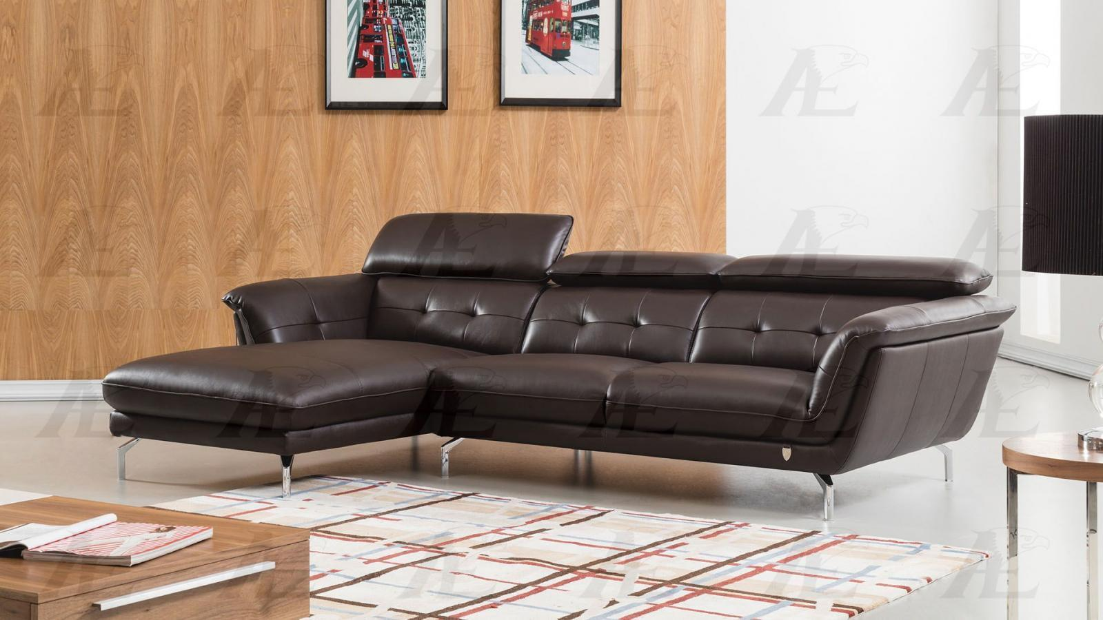 American Eagle EK-L083-DC  Sectional Sofa Left Hand Chase Italian Leather 2pcs