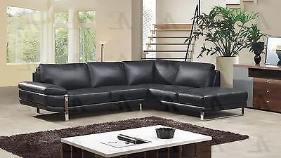 American Eagle EK-L025-BK Sectional Sofa Right Hand Chase Italian Leather 2pcs