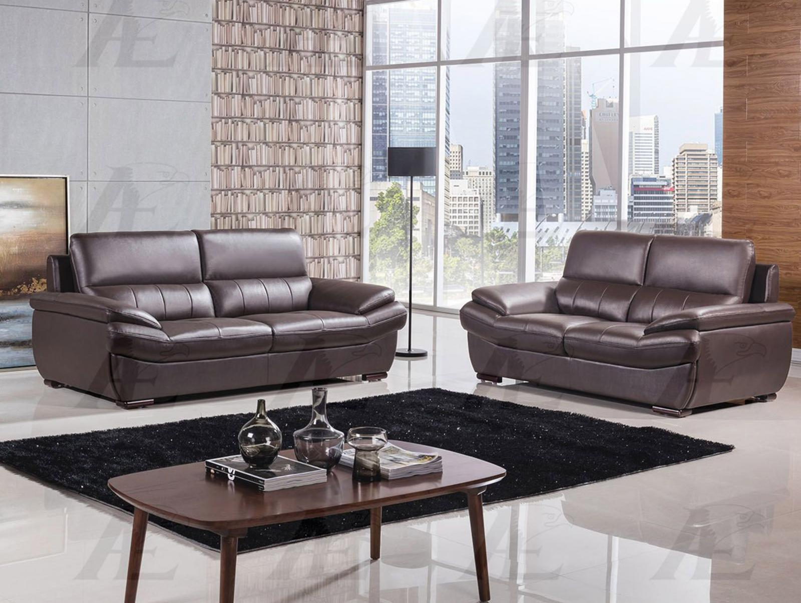 American Eagle EK-B305-DC Dark Chocolate Sofa Loveseat Genuine Leather 2Pcs Set
