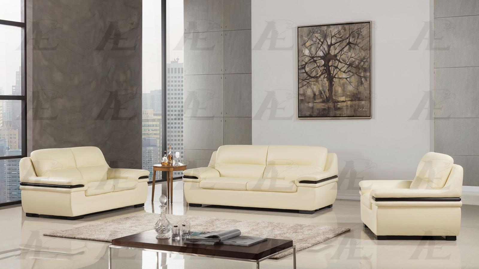 American Eagle EK-B113-IV Ivory  Sofa Loveseat Chair Genuine Leather 3Pcs Set