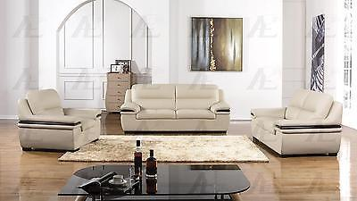American Eagle EK-B113-LG L/Gray Sofa Loveseat Chair Genuine Leather 3Pcs Set