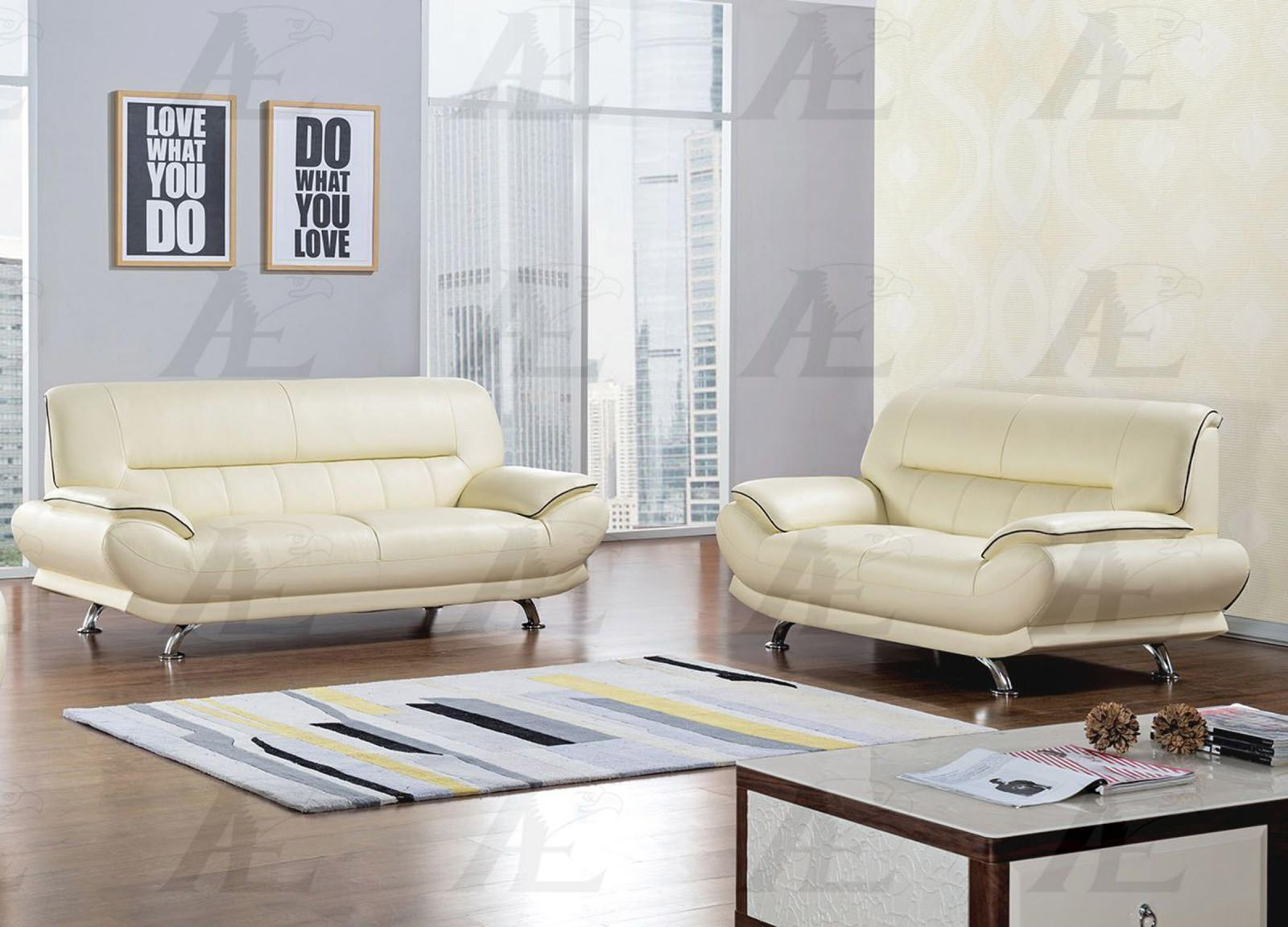 American Eagle EK-B118-IV Ivory Sofa and Loveseat Genuine Leather 2Pcs Set