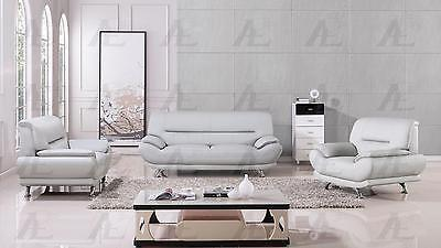American Eagle AE709-LG Light Gray Sofa Loveseat and Chair Faux Leather Set 3Pcs