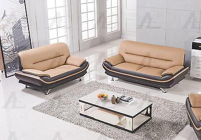 American Eagle  AE709-YO.BR Yellow/Brown Sofa and Loveseat F/Leather  Set 2Pcs