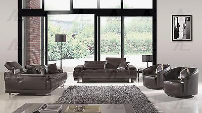 American Eagle AE606-DC Dark Chocolate Sofa Loveseat 2 Chair F/Leather Set 4Pcs