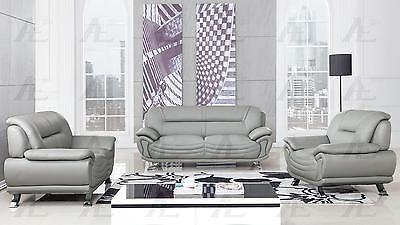 American Eagle  AE388-GR Gray Sofa Loveseat and Chair Faux Leather Set 3Pcs