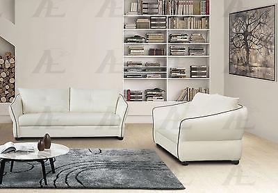 American Eagle AE348-IV Ivory Sofa and Loveseat Faux Leather Set 2Pcs