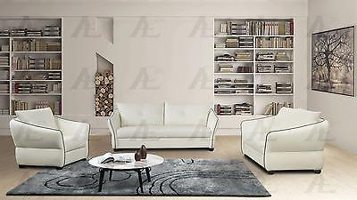 American Eagle  AE348-IV Ivory Sofa Loveseat and Chair Faux Leather Set 3Pcs
