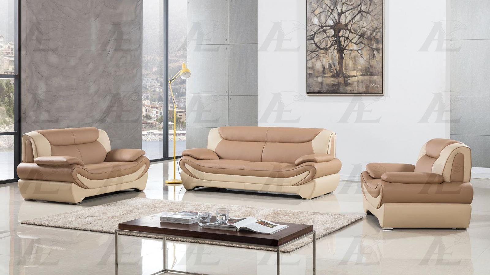American Eagle AE209-CA.IV Camel/Ivory Sofa Loveseat Chair Set F/Leather 3Pcs