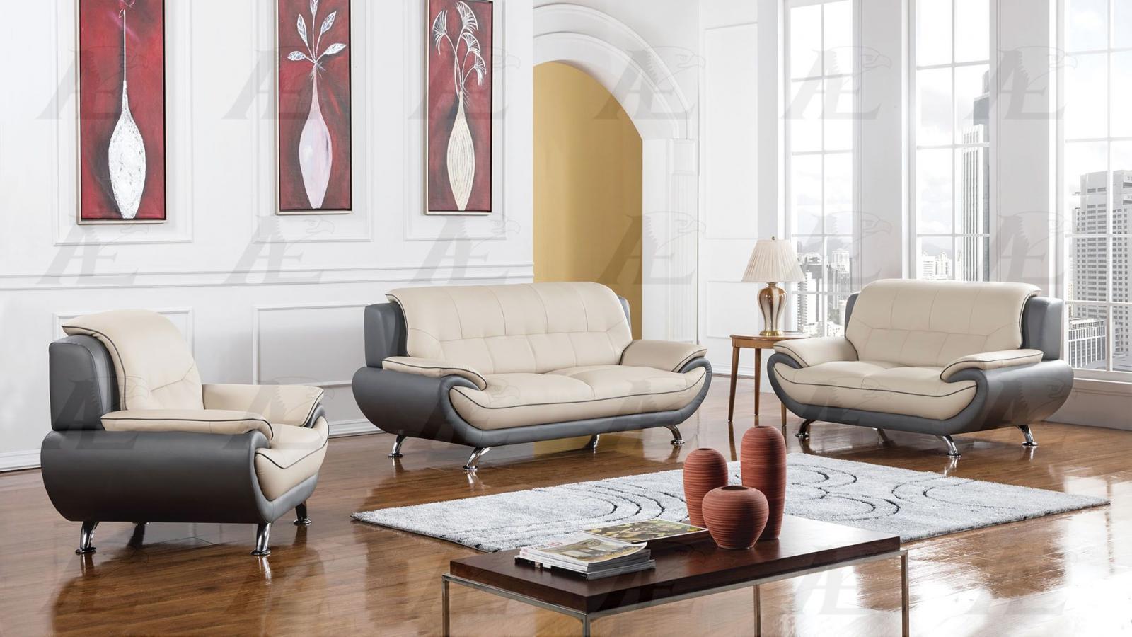 DG Light/Dark Gray Sofa Loveseat Chair F/ Leather 3Pcs